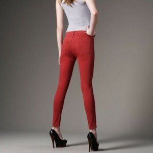 Citizens of Humanity  Dark Red Thompson Medium Rise Cropped Skinny Jeans
